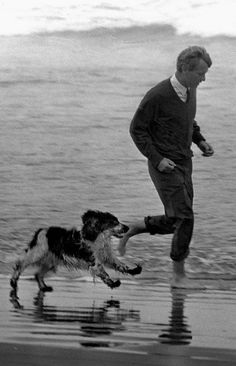 Bobby Kennedy and Freckles run on the beach