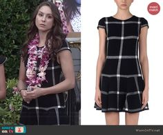 Spencer's black checked drop waist dress on Pretty Little Liars.  Outfit Details: http://wornontv.net/42116/ #PLL