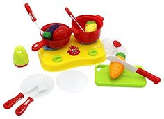 ZERBO PRETEND Home Cookware Mini Pretend and Play Cooking Kitchen Toy Play Set for Kids -- See this great product. Note:It is Affiliate Link to Amazon.