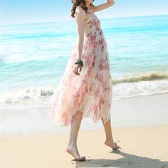 Vestidos maxi - Rojo floral de la boda vestido maxi del verano - hecho a mano por Yuki-Hao888 en DaWanda