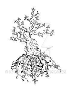 Tree of Leah by https://www.facebook.com/scott.hassler.art | Custom Tattoo Designs #custom #tattoo #design #inspire #ink #bodyart #art #hassified #michael #scott #hassler #graphic #illustration #graphic