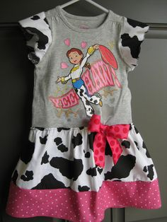 Toy Story Jessie Dress Upcycled Shirt Cowgirl 18 month OOAK. $24.50, via Etsy.