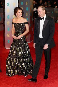 Kate Middleton Wears Off-the-Shoulder McQueen to the BAFTAs  - ELLE.com