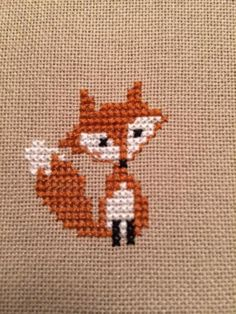 tiny cross-stitch fox ornament for cinnamonteal in Round 9 of the Stocking Swap… Tiny Cross Stitch, Cross Stitch Animals, Cross Stitch Designs, Cross Stitch Patterns, Cross Stitch Stocking, Cat Cross Stitches, Cross Stitching, Cross Stitch Embroidery, Embroidery Patterns