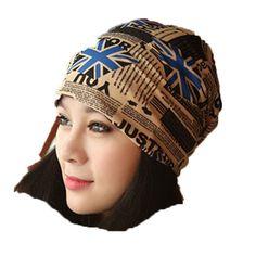 Hot Sale Adults Flag Pattern Design Skull Cap Splicing Turban Hat Multifunction Beanie