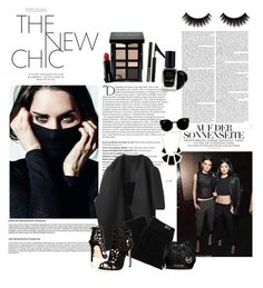 """All black everything"" by fashiongeek95 ❤ liked on Polyvore featuring Balmain, A Détacher, Paige Denim, Brian Atwood, Amrita Singh, Retrò, Tangle Teezer, MICHAEL Michael Kors, Forever 21 and Barry M"