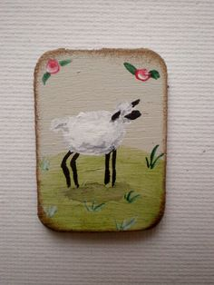 Tall Sheep Dollhouse Original Painting 1 Inch by cinderellamoments, $6.00 sold