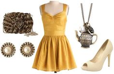 """Formal Look Inspired by Belle's Gold Dress ~ For a formal look inspired by Belle's amazing yellow ballgown, I chose a gorgeous yellow gold dress in an elegant fabric. I also chose a rose-shaped clutch, simple peep-toe shoes, and a teapot necklace (like Mrs. Potts!). This ensemble will have you looking and feeling like a princess yourself."""