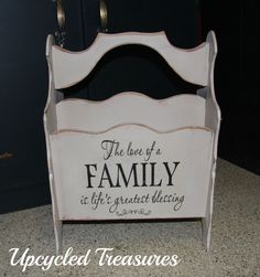 Re-purposed Upcycled magazine rack! Some chalk paint ,great graphics make for a great place to stoe books, towels , cookie sheets  https://www.facebook.com/pages/Upcycled-Treasures/1403647943237665?ref=hl