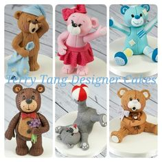 My teddy bear cake toppers made for created by stippling the icing. Teddy Bear Cupcakes, Teddy Bear Party, Love Cake Topper, Cake Toppers, Sugar Animal, Urso Bear, Clay Bear, Cake Models, Fondant Animals