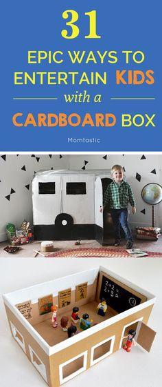 diy Box kids - 31 Epic Cardboard Box Crafts for a Rainy Day Cardboard Crafts Kids, Cardboard Box Houses, Cardboard Playhouse, Cardboard Toys, Cardboard Furniture, Cardboard Box Ideas For Kids, Crafts For Boys, Diy For Kids, Fun Crafts