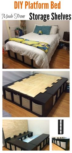DIY Platform Bed Made From Storage Shelves – wohnung - Diy Furniture Bedroom Storage, Bedroom Sets, Diy Bedroom, Wardrobe Storage, Bedroom Organization, Girls Bedroom, Bedding Sets, White Bedroom, Master Bedrooms