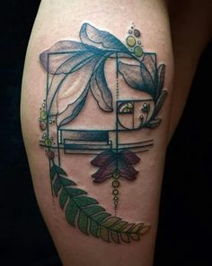 Awesome Fibonacci nature and love for art all in one amazing tattoo with Boba fett star wars colors. I love my tattoo! By Shannon!