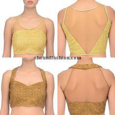 golden saree blouse design - Google Search