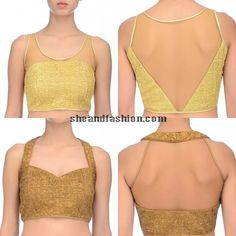 Gold saree blouse back and front neck designs