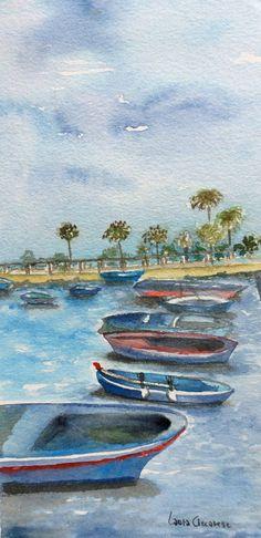 Collezione acquerelli Puglia Souvenir - Il porto di Bari - 24,5 cm x 10,5 cm – Passpartout 33,00 cm x 18,00 cm