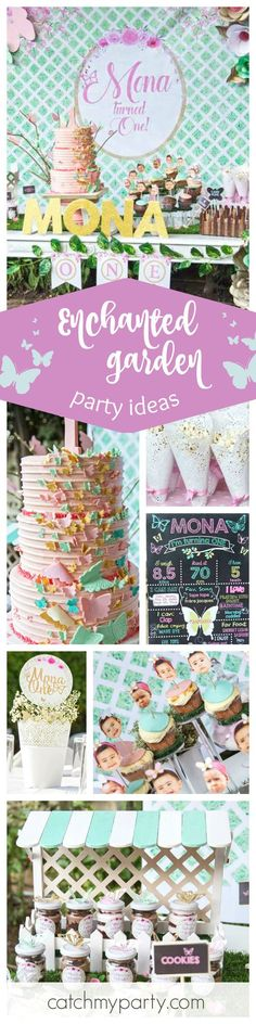 You'll love this beautiful Enchanted Garden birthday party! The butterfly birthday cake is amazing!! See more party ideas and share yours at CatchMyParty.com