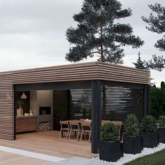37 beautiful modern outdoor kitchen design ideas - HOMEPIEZ Whilst ancient within thought, your pergola Backyard Patio, Backyard Landscaping, Backyard Storage, Landscaping Borders, Backyard Pergola, Modern Outdoor Kitchen, Outdoor Kitchens, Modern Outdoor Living, Build Outdoor Kitchen