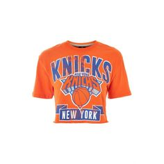 New York Knicks Crop T-Shirt by Unk X Topshop ($28) ❤ liked on Polyvore featuring tops, t-shirts, orange, orange t shirt, crop t shirt, white crop tee, white tops and star t shirt