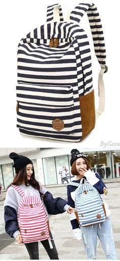 Leisure Travel Canvas Backpack Fashion College Striped Student Rucksack for big sale ! #canvas #stripe #backpack #bag #college #school #student #girl #travel #rucksack