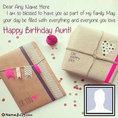 It's a new way to send birthday wishes online. Get happy birthday to my aunt wish image with her name and photo. Happy Birthday Auntie, Birthday Wishes With Name, Free Birthday Card, Happy Birthday Wishes Images, Friend Birthday Quotes, Happy Birthday Cards, Wish Online, She Quotes, Happy Relationships