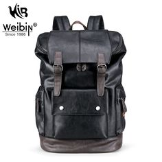 39.77$  Buy here - http://aligyb.shopchina.info/go.php?t=32802967501 - Weibin Male Functional Bags Fashion Men Backpack Big Capacity PU Leather Men School Backpacks For Boys Business Travel mochila 39.77$ #aliexpresschina