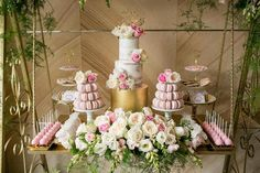 Styling, cake, cookies, chocolates and favour bags by Cupcakes By Rita. Cake pops by Pop Treats. Macarons by Macaron Delights (via Kara's Party Ideas).