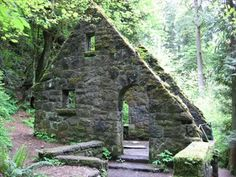 "Scene from TV show ""Grimm""    The old stone house is located in Forest Park in Portland.   It was built by the Works Progress Administration during the depression."