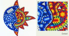 Eclipse Mexican Huichol Art with Motif Sun and Moon Multicolor Sun Art, Garden Crafts, Bing Images, Mexican, Beads, My Love, Sweet, Sun, Beading