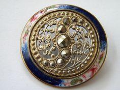 Antique Enamel Metal Button Brass Victorian Steel Medium Cloisonne Champleve