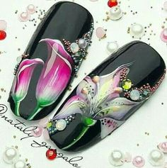 Holy crap these are beautiful! Where would I wear them though? Basic Nails, Disney Nails, Nailart, 3d Nails, Flower Nails, Nail Tutorials, Manicure And Pedicure, Spring Nails, Christmas Nails