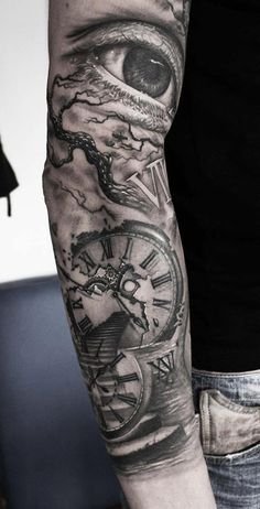 http://tattooideas247.com/eye-clock-stairway/ Eye, Clock & Stairway Sleeve #Bg, #Clock, #Eye, #MarioHartmann, #Sleeve, #Stairway, #Tree