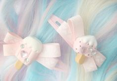 Pastel pink ice cream hair clips with bows and rhinestones