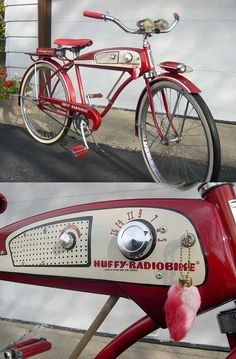 "It has a radio! Solves the ""no earbuds"" problem. 1955 Huffy-Radiobike 