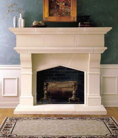 "Lexington Cast Stone Fireplace Mantel ~ The LEXINGTON fireplace mantel may be adapted to fit varying firebox heights. 36"" x 30"" firebox shown in photo. Optional overmantels are available."