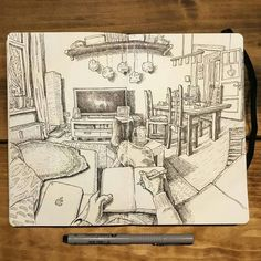 Great #penandink #panoramic #fisheye #drawing by @keiross of his girlfriend's living room which is evidence that these panoramic  illustrations don't have to be of exotic places to awesome!  So many cool little pieces spread throughout this space---from the plant by the window on the left to that nice heart ornament on the door on the far right---and the shading and textures that Keir depicts using hatching and varying patterns and sizes of lines is really quite incredible. I know it's…