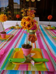@Candace Kozlowski of Rock Candie Designs designed these adorable garden themed custom place settings. Looking for custom place settings for an event? visit www.rockcandiedesigns.com
