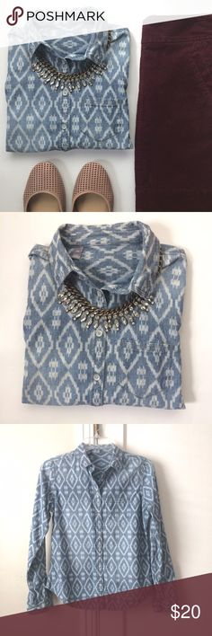 Ikat Print Faded Chambray Button-down Shirt This top is gorgeous! Very similar styles sold by Cloth and Stone at Anthropologie. Beautiful tribal ikat pattern on faded chambray shirt. Perfect for fall! Excellent condition. Size says PS but would work for Small too. Measurements upon request. Tops Button Down Shirts