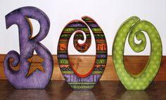 Green Eyed Girl Crafts...: Wood Boo!