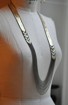 Draped Chevron Collar Necklace  Framed Mesh by MARALRAPP on Etsy, $438.00