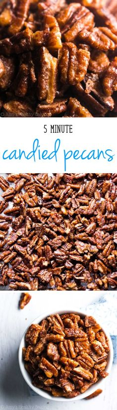 The easiest, quickest, BEST recipe for candied pecans you'll ever try! These taste EXACTLY like pecan pie but without all the work! Great last-minute recipe for New Year's Eve!