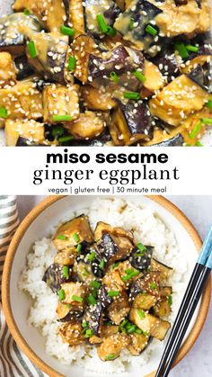 Make this insanely flavorful miso sesame ginger eggplant for dinner tonight! Its easy delicious vegan and gluten free. Serve it over your favorite rice add some baked tofu and you have yourself a yummy balanced meal everyone will love. Vegan Eggplant Recipes, Cooking Eggplant, Vegan Dinner Recipes, Vegan Dinners, Vegetarian Recipes, Miso Eggplant, Eggplant Dishes, Miso Recipe, Asian Recipes