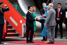 La reine Margrethe II de Danemark et le prince consort Henrik avec le couple présidentiel mexicain à Copenhague, le 13 avril 2016