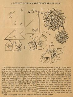 The Midvale Cottage Post: Home Sewing Tips from the 1920s - Lovely Silk Dahlias!