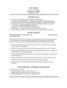commercial driver transportation resume sample