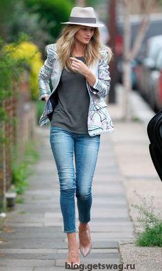 Уличный стиль Роузи Хантингтон Уайтли (Rosie Alice Huntington Whiteley) 2015  blog.getswag.ru