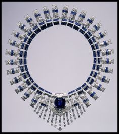 Marjorie Merriweather Post's Cartier sapphire and diamond necklace. The necklace is made from two bracelets joined by a custom-made Cartier brooch, ca. 1936.