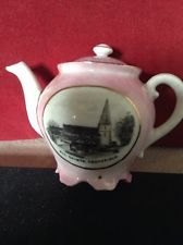 Pretty Pink and White Small Teapot With Black & White Image of Heathfield,Sussex