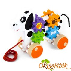 A gyerekek imádják, ha uralmuk van valami felett. A húzogatós, tologatós játékok ezért olyan népszerűek náluk. Már a kutyus figurája is nagyon vonzó, hát ha még a színes fogaskerekek is forognak haladás közben. Megfigyeléshez, járásösztöntéshez használható játék. Yoshi, Character, Art, Art Background, Kunst, Performing Arts, Lettering, Art Education Resources, Artworks