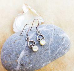 Shell silver earrings, white shell. dangle earrings, shine, fancy, celtic, long earrings, sterling silver, filigree, handmade, boho, gift by SPIRALICA on Etsy